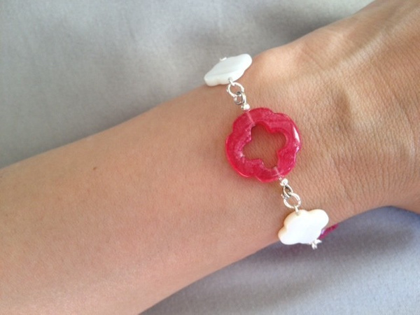 White_MOP_and_Fuscia_Jade_Q_and_Silver_Bracelet_b by...