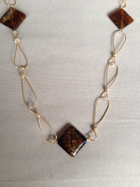 Chocolate_Agate_with_Gold_Wire_Links_Necklace by...