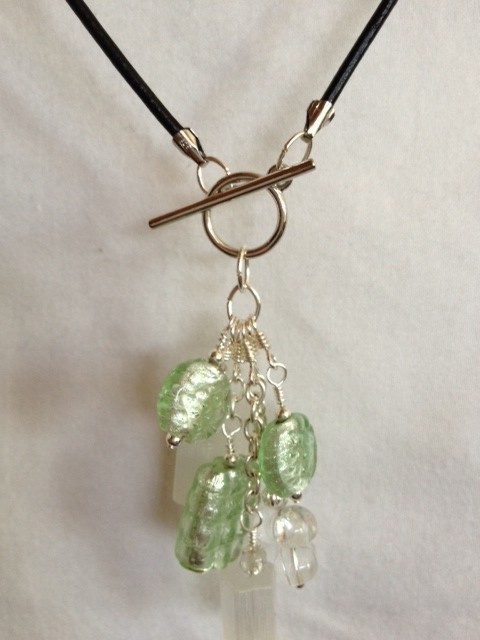 Green_glass_silver_leather_cord_necklace_close