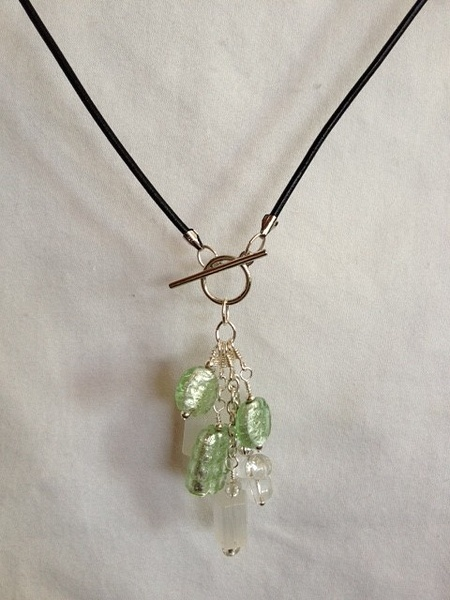 Green_glass_silver_leather_cord_necklace_Far_b by...