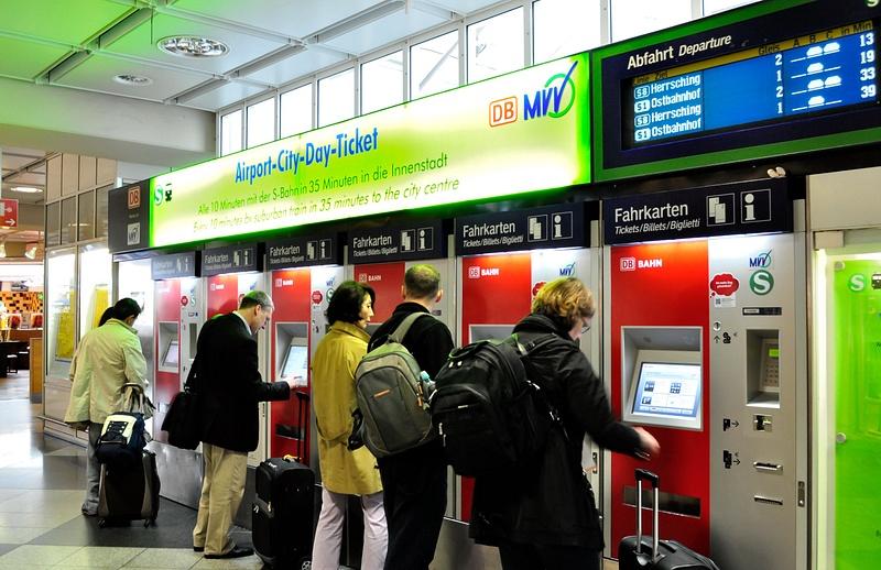 Мюнхен, аэропорт, автоматы по продаже билетов