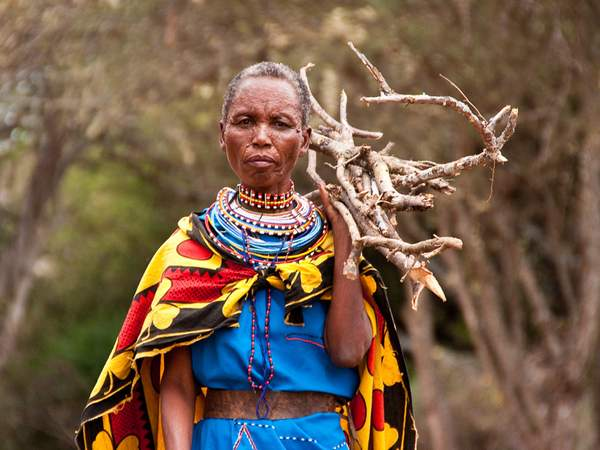 Masaai woman gathering firewood