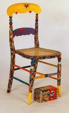 Wicker-seat chair and box