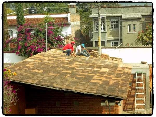 Roof tiles are replaced.