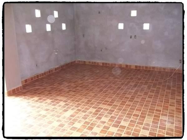Ceramic tile floor installed