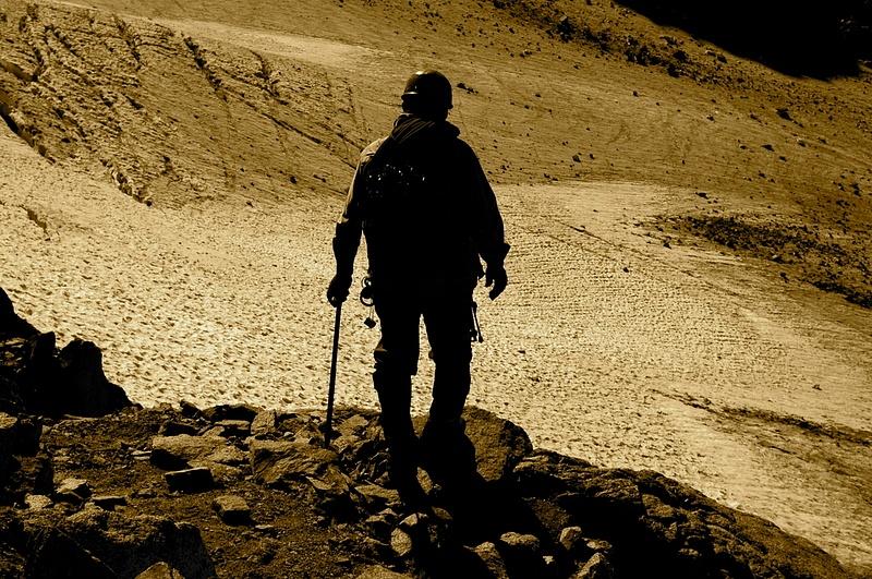 Looking at the Palisades Glacier, Sierra Nevada Mountains