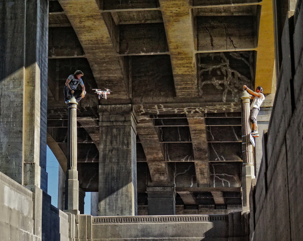 Droning On Beneath the 6th Street Bridge by DaveWyman