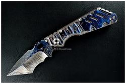 Mick Strider Custom Cobalt-Damascus XL Tanto Recurve -- Deep Blue