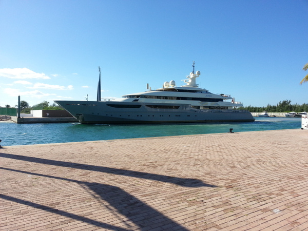 Saw this magnificent yacht docked at La Amada Marina by Aannabandana