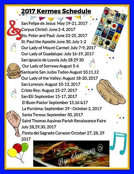 2017 EP Kermess Schedule