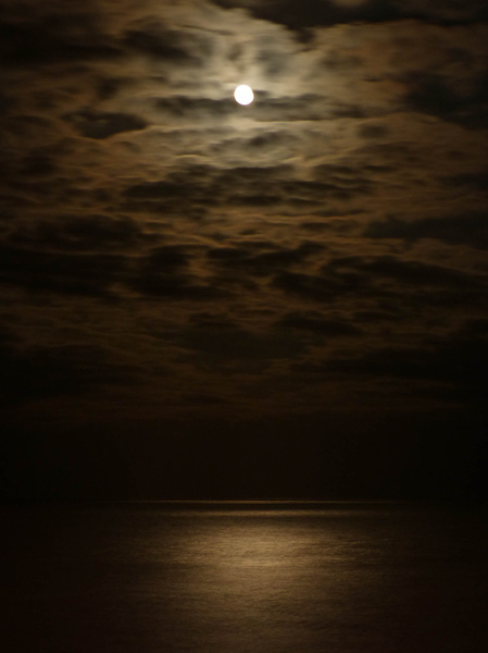 The Moon Over Eastbourne Beach (March 2013) by James...