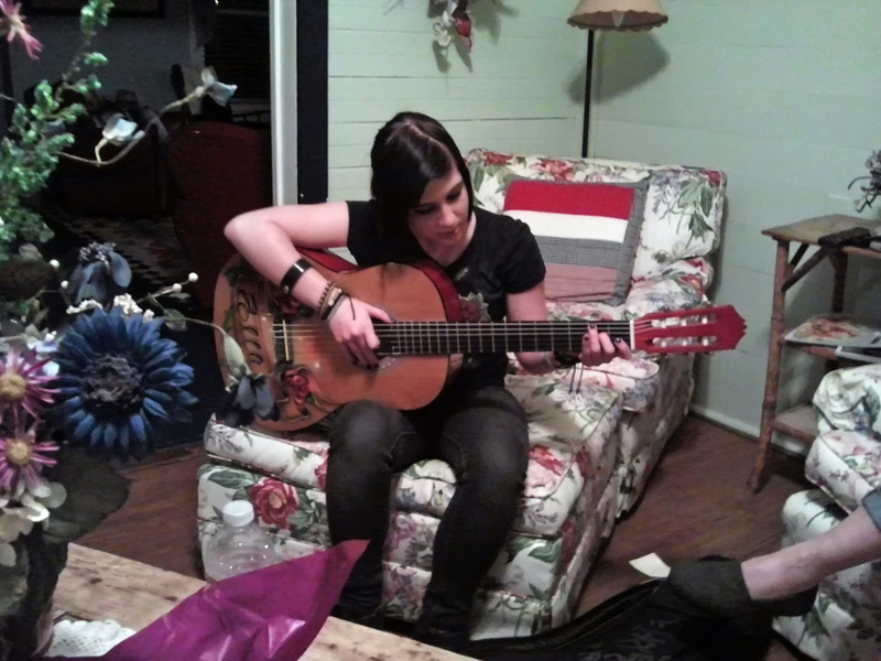 Lyndi serenades us after dinner.