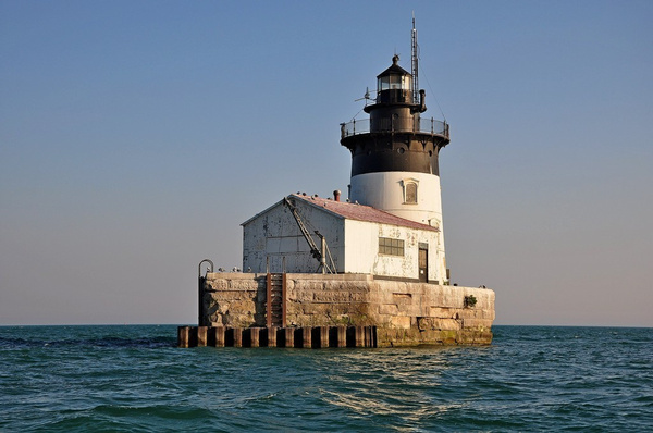 Detroit Channel Light in Lake Erie, Michigan by...