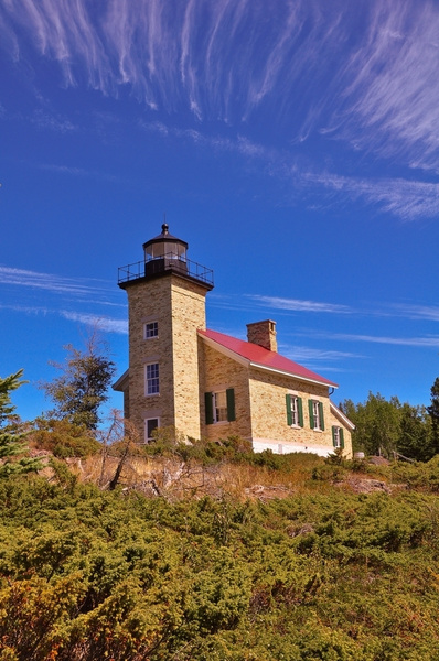 Copper Harbor Lighthouse on Lake Superior in the Upper...