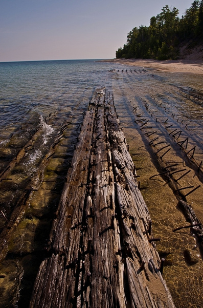 Sunken Ship off Ausable Point in Lake Superior by...