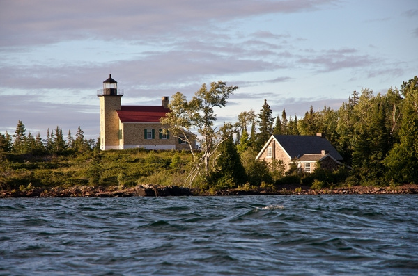 Copper Harbor Lighthouse from Kayak @ Sunset Aug 2013 by...