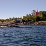 Marquette Harbor Lighthouse and LS&I Iron Ore Loading Dock in Marquette