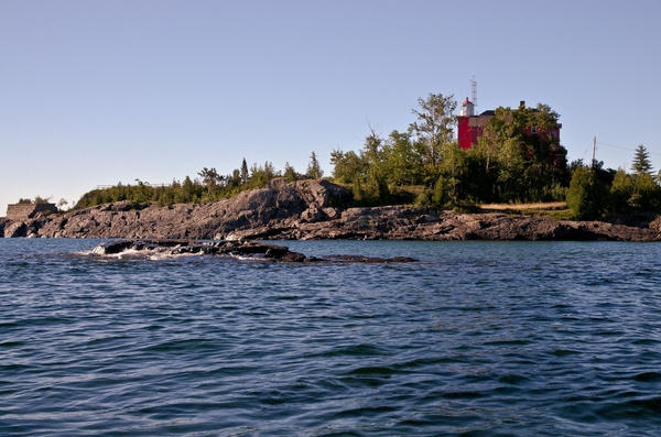 Marquette Harbor Lighthouse and LS&I Iron Ore Loading...
