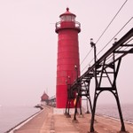 Grand Haven Pier Lights in the Fog