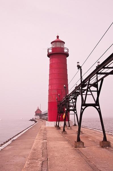 Grand Haven Pier Lights in the Fog by SDNowakowski