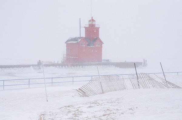 Winter Storm Warning @ Holland Lighthouse by SDNowakowski