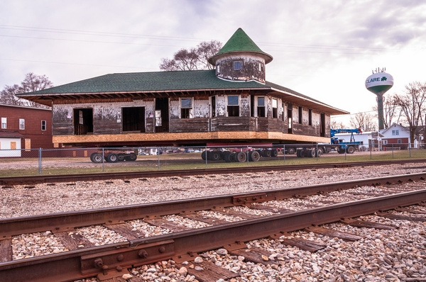 Clare Michigan Railroad Depot on the Move by SDNowakowski