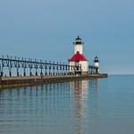 St. Joe's Pier Lights on Lake Michigan