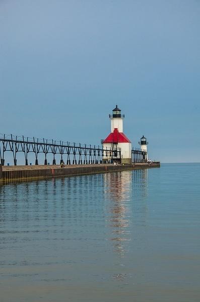 St. Joe's Pier Lights on Lake Michigan by SDNowakowski