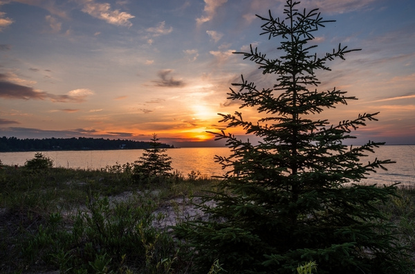 Sunset over Lake Michigan from Wilderness State Park in...