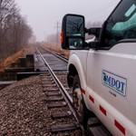 High-Rail Inspection on the I&NE Railroad on a foggy morning in Dec-2014