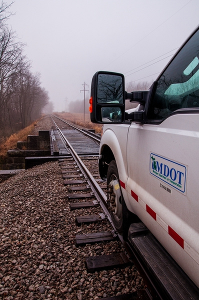High-Rail Inspection on the I&NE Railroad on a foggy...