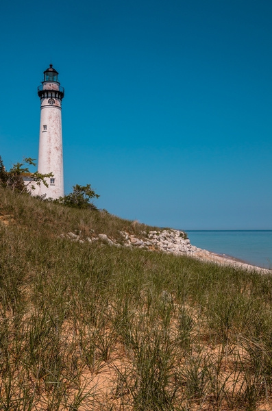 South Manitou Island & Lighthouse on Lake Michigan by...