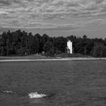 40-Mile Point Lighthouse on Lake Huron in B&W