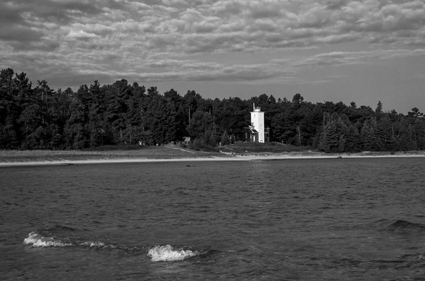40-Mile Point Lighthouse on Lake Huron in B&W by...