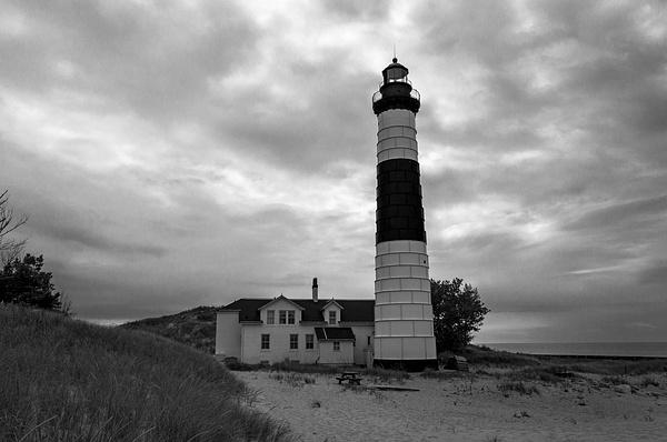 Big Sable Point Lighthouse in B&W by SDNowakowski