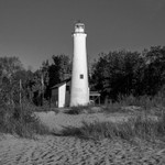 Sturgeon Point Lighthouse on Lake Huron in B&W