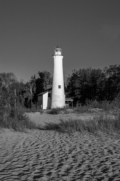 Sturgeon Point Lighthouse on Lake Huron in B&W by...