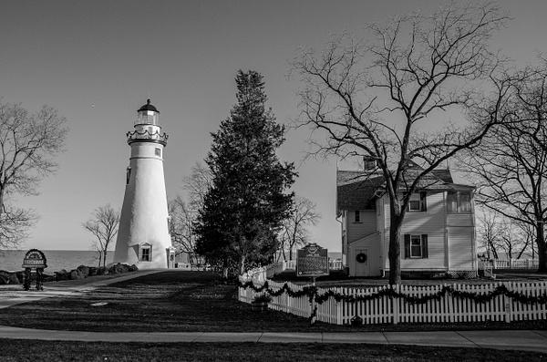 Marblehead Lighthouse @ Christmas & B&W by SDNowakowski