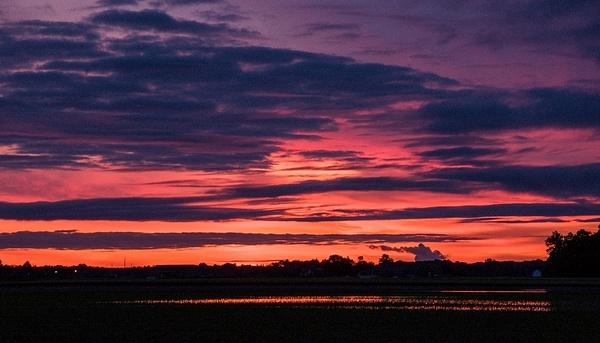 Sunrise Over Flooded Monroe County Farm Field June 2015...