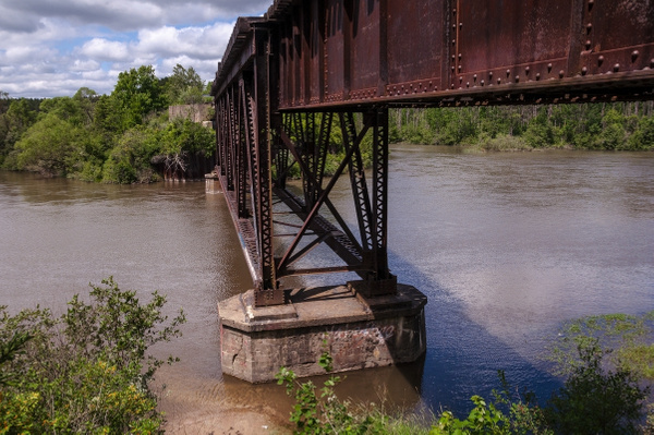 Old Railroad Bridge over the Manistee River in Mesick,...