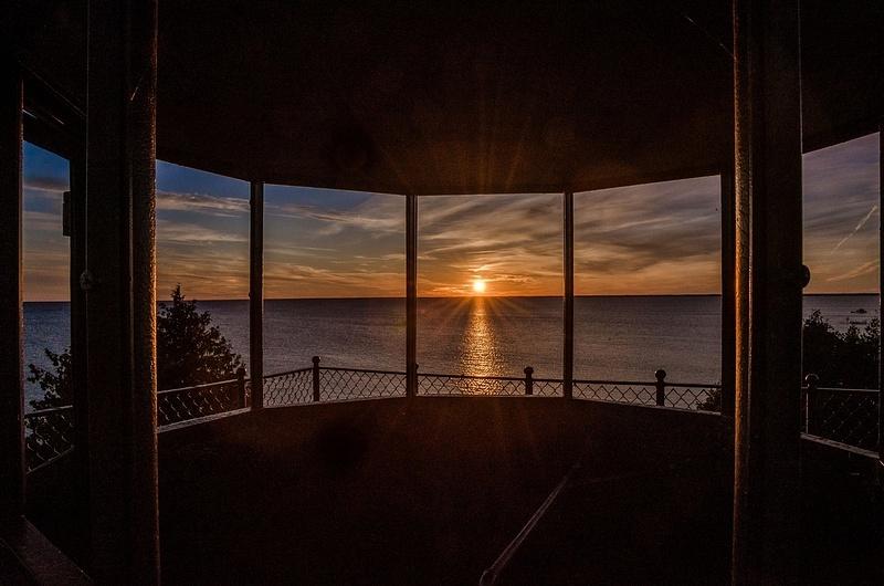 Sunset from inside Peninsula Point Light
