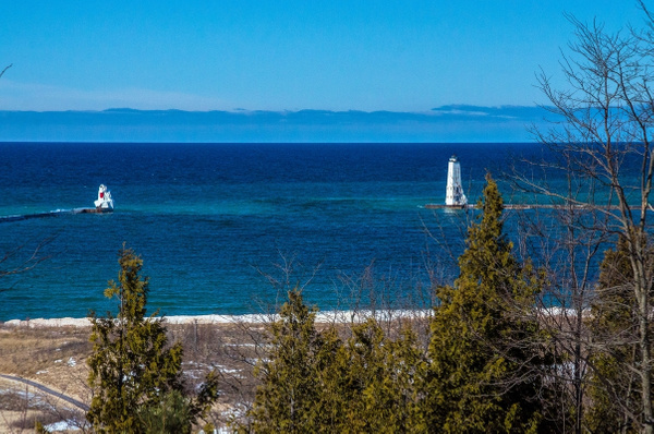 2016 Frankfort Pier Light - Early Spring Thaw Feb. by...