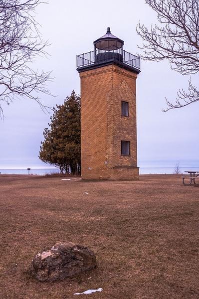2016 Peninsula Point Light off Lake Michigan in the...