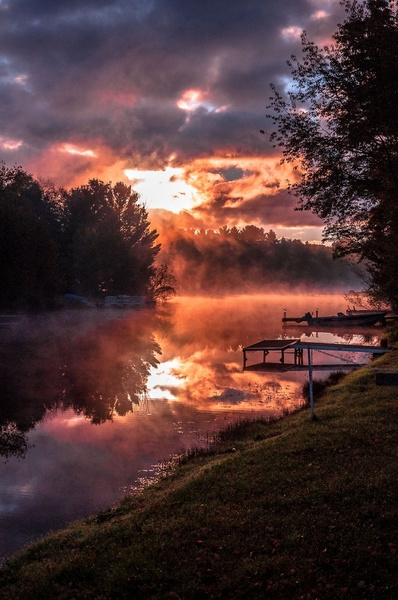 2016 Foggy Sunrise on Lake Gitchegumee in Buckley, Michigan by SDNowakowski