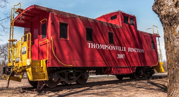 2016 Thompsonville Railroad Caboose in April by SDNowakowski