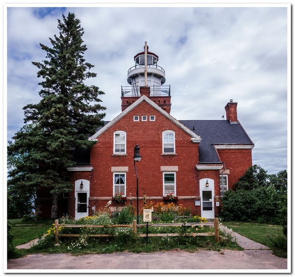 2014 Big Bay Point Lighthouse on Lake Superior north of...