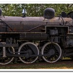 2017 GTW # 5030 Steam Locomotive in color & grayscale sitting in a park in Jackson, Michigan