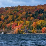 2018 Fall Colors around the Old Grand Island East Channel Lighthouse in Munising, Michigan in Mid Oc