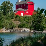 2018 Marquette Harbor Lighthouse on a calm summer day in July 2018