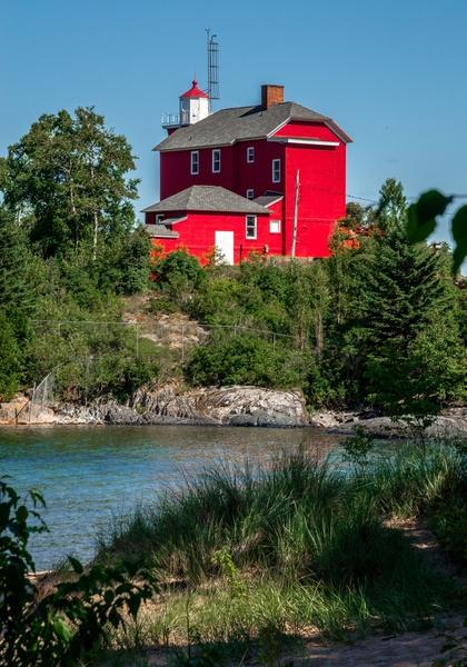 2018 Marquette Harbor Lighthouse on a calm summer day in...